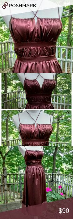 Chloe Goddess Silk Dress Chloe chocolate brown silk dress with hidden side zip is pure silk decadence... versatile bodice can be worn either way, and Adjustable to show however much you are comfortable with. Midriff has that Grecian goddess  vibe. Opaque hem. Size4 .Our mannequin is a 6-8, but she did squeeze in. Color is closest to 3rd photo. This dress was worn once for an indoor photo shoot, and is in almost perfect condition.. there is a place or 2 wear there is a rub to the silk, but no…