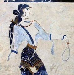 Ancient Minoan art, 1600 B. - Akroteri Fresco - Note the beaded jewelry! Not only adorning her, but also the necklace she holds in her hand (Hmm, Minoan frescoes. etsy for the ancients? Greek History, Ancient History, Art History, Black History, Creta, Ancient Greek Art, Ancient Greece, Fresco, Knossos Palace