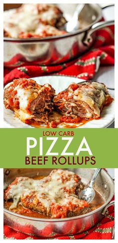 These cheesy pizza beef rollups are a fun and delicious low carb dinner you can make with one pan. Thin beef steaks are stuffed with melty, gooey cheese and topped with low carb sauce to make a tasty weeknight meal. #beef #easydinner #easyrecipe #lowcarb #glutenfree #pizzaflavor #beefrollup #cheesybeef #skilletdinner #weightloss #dieting #lowcarbdinner