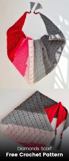 Diamonds Scarf Free Crochet Pattern #crochet #crafts #shawl #homemade #handmade