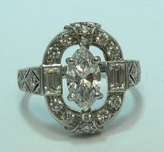 1.24cts Exceptional Antique Art Deco Marquise Diamond Engagement Ring Platinum by JR Colombian Emeralds, http://www.amazon.com/dp/B007USVL6C/ref=cm_sw_r_pi_dp_x8AMqb1261DX2/185-3600699-6404721