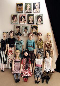 / handmade dolls with matching portraits by christine alvarado / Antique Dolls, Vintage Dolls, Fabric Dolls, Paper Dolls, Doll Museum, Half Dolls, Polymer Clay Dolls, Barbie Patterns, Dress Up Dolls