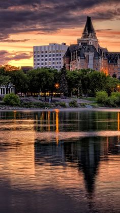 Sunset at Delta Bessborough Hotel in Downtown Saskatoon in Saskatchewan, Canada