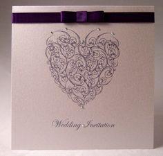 Wedding Invitation Sample, 'Heart Swirls' Design, Handmade Wedding Invitation