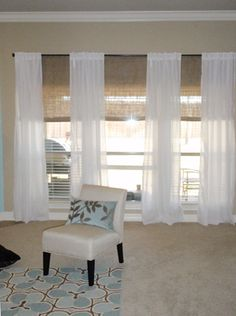 Bamboo Shades With Curtains For Sunroom Triple Window Also Playroom