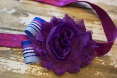 purple shabby flower headband