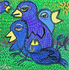 Blue Birds, Animal Art, Whimsical EBSQ Original Painting on Canvas LAURA BARBOSA #FolkArt
