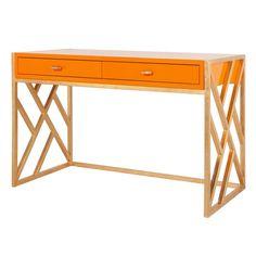 Orange lacquer desk with gold leaf lattice base.