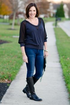 What I Wore: Date Night Outfit featuring black leather jacket, mixed media top from LeTote, skinny jeans, and riding boots
