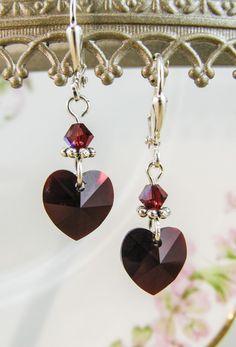New w/Swarovski Red/Garnet Heart Charm Crystal Jewelry Earrings #HisJewelsCreationsDesign #DropDangle