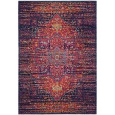 Bungalow Rose Ameesha Blue/Fuchsia Area Rug & Reviews | Wayfair