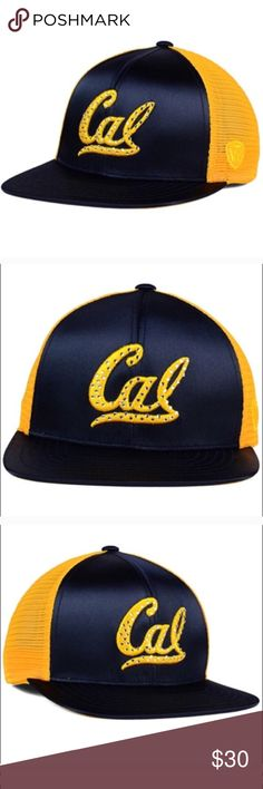 California golden bears satin SnapBack The California Golden Bears Top of the World NCAA Women's Big Satin Snapback Cap will make a fabulous addition to your wardrobe and/or collection. which features team colors in beautiful satin in front and the traditional logo outlined in gem studs.  Color: Navy/gold Material: Made of 100% Polyester, Woven Departments:  Snapback,Adjustable Primary Logo:  Raised Embroidery Brand on Front Middle  Crown:  High  Closure:  Snap  Fit:  Structured  Bill Type…