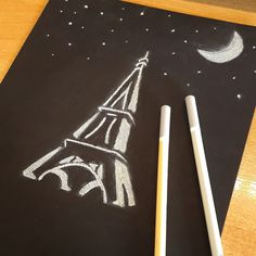 Paris by night! #eiffeltower  #underthemoonlight #myart 🗼🌙🎨