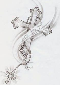neck rosary tattoo designs | Cross And Jesus Grey ink Tattoo On Man Right Half Sleeve