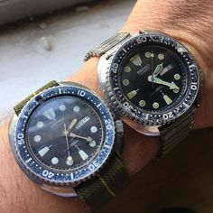 REPOST!!!  Had to leave these both as is....internal servicing will happen, but not cosmetic. 1979 and 1981 Seiko 6309's #seikofam #seiko #vintageseiko #vintagediver #wristshot #seikoholic #patinawar2017 #ndcstraps #marinenationale #customstraps #klocksnack #watchesofinstagram #watches #6309 #hodinkee #horology  repost | credit: ID @watch_vintage_watch (Instagram)