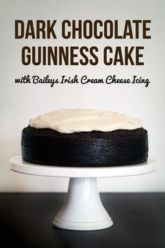 Dark Chocolate Guinness Cake with Baileys Cream Cheese Icing moist and dense but not too heavy. Dark Chocolate Guinness Cake with Baileys Cream Cheese Icing Chocolate Guinness Cake, Decadent Chocolate Cake, Dark Chocolate Cakes, Chocolate Desserts, Chocolate Heaven, Chocolate Cream, Irish Recipes, Sweet Recipes, Cake Recipes