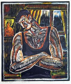 this man looks sad and depressed the colours in this artwork bring out the mans emotions and show us the techniques such as balance, shape and value. New Zealand Art, Nz Art, Maori Art, Principles Of Design, Brown Art, Colour Contrast, Male Figure, Elements Of Art, Artist Painting