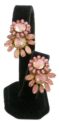 Miriam Haskell pink givre glass earrings $125 http://www.vintagecostumejewelryaddiction.com/vcja3781.html