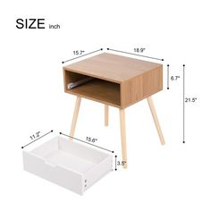 Shop Kinbor Side End Table Mid-Century Wood Nightstand Living Room Table Cabinet w/Storage Drawer - Free Shipping Today - Overstock - 26278320 - wood1 Modern Decor, Modern Design, Wood Nightstand, Natural Wood Finish, Modern Materials, Master Bedrooms, Storage Drawers, Wooden Handles, End Tables