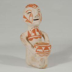 Tesuque (Te Tsu Geh Oweenge) Pueblo Bi-chrome Painted Rain God - C3618E #adobegallery #TesuquePuebloPottery #SouthwestIndianPottery #SouthwestIndianArt #Pottery #IndianPottery #HomeDecor