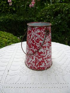 antique french country red and white enamel by Lepapadesmatous, $40.00