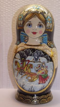 """7 dolls, Russian Matryoshka , by the author, height 8,2 """" (21 см) #2016"""