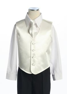 Ring Bearer Ivory Plain 2Pcs Vest Set