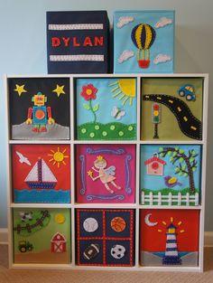 Toy Storage Ideas - Looks like felt!  I see a project looming! KissyMonster on Etsy idea.