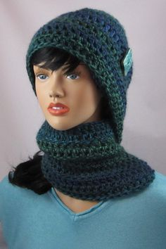 Merino Wool Crocheted Scarf in Varigated Blues & by WearablesByAC, $45.00