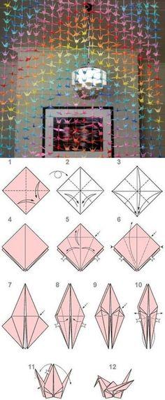 DIY Paper Origami Crane Curtain DIY Tutorials Uncategorized how origami crane Origami Design, Diy Origami, Origami Ball, Origami Butterfly, Useful Origami, Origami Paper, Origami Cranes, Origami Hearts, Dollar Origami