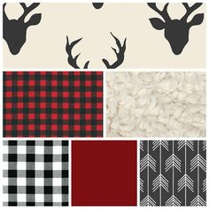 Buck Rustic Woodland, Modern Custom Crib Bedding, Baby Bedding -  black red cream and white by HadleyLoveBabyQuilts on Etsy