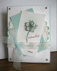 Linda's Stampin Loft: Thinking Of You ~ softly Homemade Greeting Cards, Homemade Cards, Cool Cards, Diy Cards, Embossed Cards, Pretty Cards, Scrapbook Cards, Scrapbooking Ideas, Flower Cards