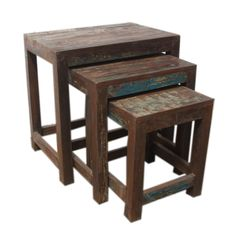 Set Of 3 Reclaimed Wood Nesting Tables (India)   Overstock™ Shopping   Top