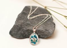 Beautiful Blue Babies Breath Necklace Real by LomharaJewellery