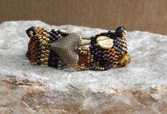 Beaded Bracelet Listen to Your Heart  Free Form Peyote Stitchby Cheri C Meyer, $125.00