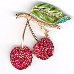 Trifari 'Alfred Philippe' Enamel and Rhinestone Cherries on a Branch Pin