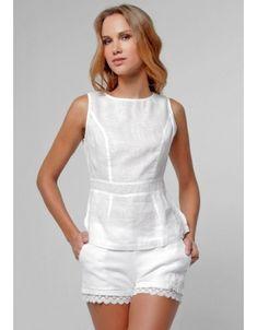 Linen Avant Cut & Sew Tank in White Dress Outfits, Cute Outfits, Fashion Outfits, Womens Fashion, Red Blouses, Blouses For Women, Chiffon Blouses, Casual Chic, Casual Wear