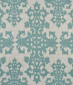Casablanca Turquoise on Oatmeal Fabric /family room sofa pillow to coordinate with curtains $31 yatd