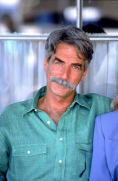Danger in the Desert 1993. Sam Elliott, male actor, green shirt, moustache, r.i.p., portrait, photo