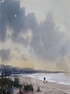 Morning Haze by Brienne M. Brown Watercolor ~ 16 x 12 Learn Watercolor Painting, Watercolor Clouds, Watercolour Paintings, Beach Scenes, Watercolours, Landscape, Beach Paintings, Artist, Party Ideas