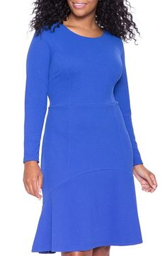 ELOQUII+Scuba+Knit+Dress+with+Flounce+Panel+(Plus+Size)+available+at+#Nordstrom