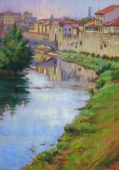 Bisenzio River in Prato, Italy. Pastel Painting by Jill Stefani Wagner