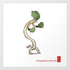 Food Art-Mung Bean Sprout Art Print by truongxuanbach - $13.52