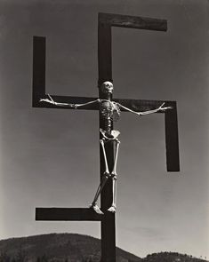 "© Paul Strand, 1938, ""Swastika (aka Hitlerism),"" ConnecticutThis rare explicitly political photograph by Strand was published in the journal Theatre Arts Committee in January 1939, accompanied by Dashiell Hammett's text, which declared, ""Humanity must not be crucified on a swastika!"" The iconography may have been inspired by John Heartfield's antifascist photomontages, which were regularly featured in the German newspaper Arbeiter-Illustrierte"