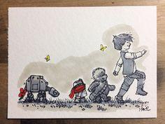 Ilustrador recria personagens de Star Wars com traços do Ursinho Pooh