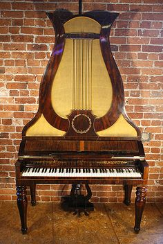 Antique, Klein Lyre piano for sale with a rosewood case: Antique Lyre piano. Specialist piano dealer, trader and wholesaler. Piano Bar, Piano Music, Motif Music, Leeds, Piano For Sale, Old Pianos, Baby Grand Pianos, Music Machine, Upright Piano