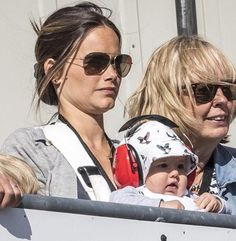 Adorable baby Prince Alexander of Sweden with his mother Princess Sofia (L)  seen during the STCC race in Karlskoga August 14, 2016.