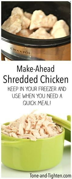 Make Ahead Shredded Chicken on Tone-and-Tighten.com - this is the best freezer meal to make because you can use it for anything!