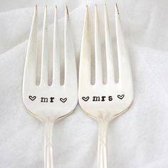 Hand stamped wedding forks personalized Mr by MilkandHoneyLuxuries, $30.00