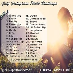 July Instagram Photo Challenge - If you're ever at a loss for what to post on Instagram one day, take some inspiration from the July Instagram Photo Challenge!
